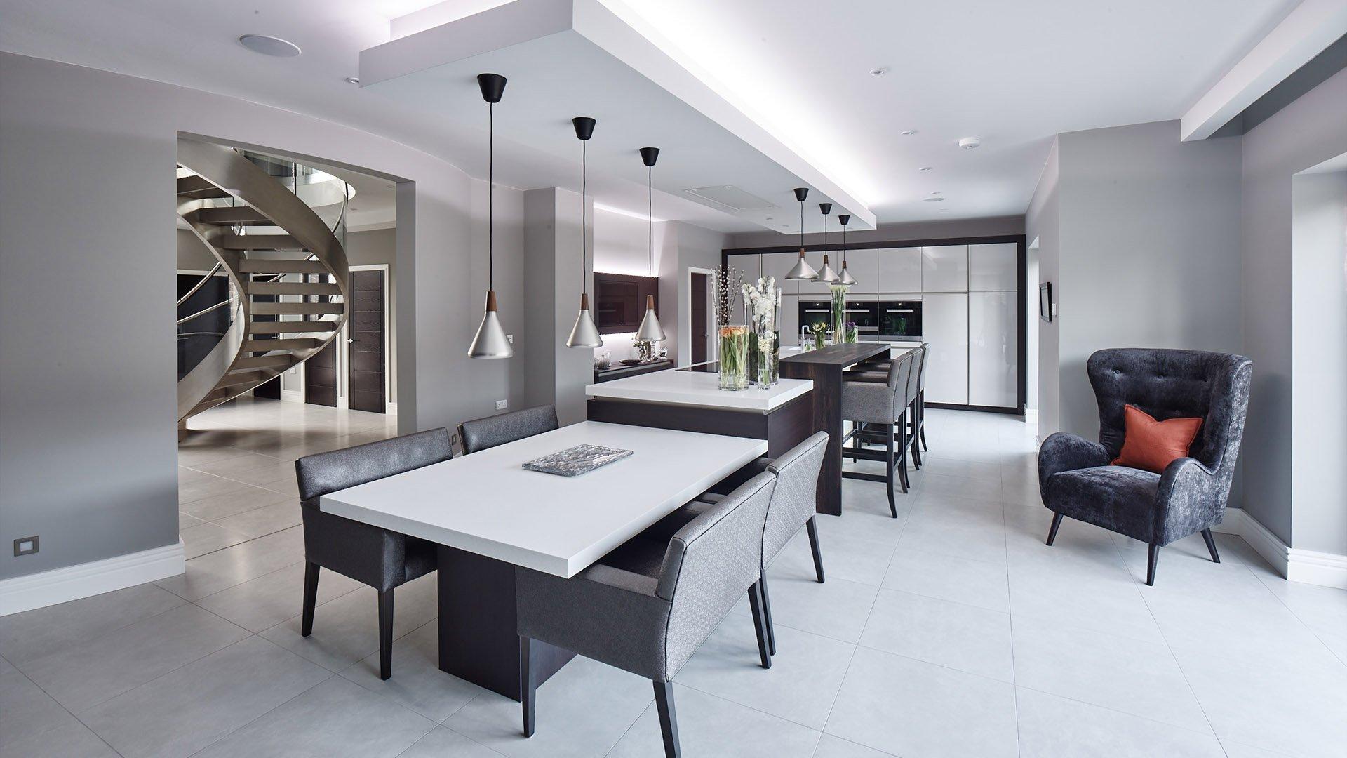 Split level Corian® island in a contemporary kitchen